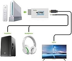 Adaptador Wii a HDMI - Younik Conversor Wii a HDMI Adaptador de salida de audio vídeo con cable HDMI para Nintendo Wii, compatible con todos los modos de pantalla de Wii (NTSC