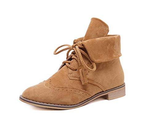 40 Tacón 35 Dedo Botas Cortas Zapatos Mujeres Ronda brownvelvet Barroco Tamaño Bajo Correa UE Martin Casuales del Pie Botín Cruz Botines Botas EHvwqRS