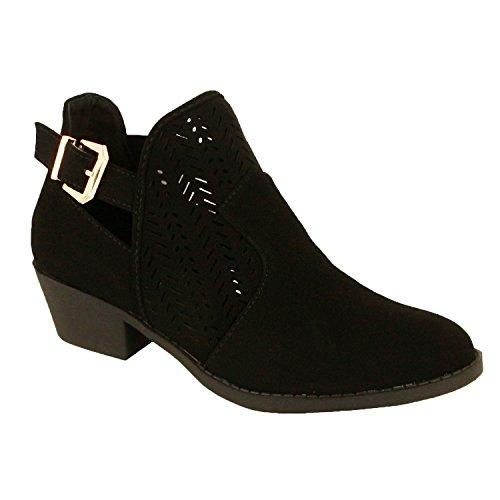 Guilty Schuhe Damen Blockabsatz Geschlossene Zehe - Riemchen Stiefeletten Schwarzes Nubuk