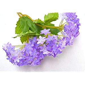 12 pcs/lot Lovely Purple Mini Hydrangea Artificial Fake plastic Mini Fresh Silk Flower Arrangement Home Home Decorative Flowers Bouquet Dining-table Hotel party Wedding DIY Craft fake flores marriage decoration (purple) 4