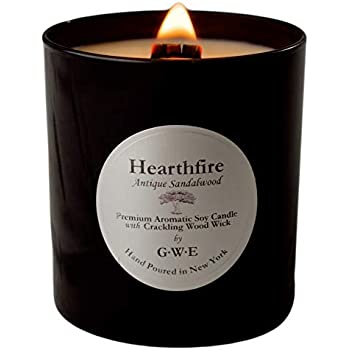 GWE HEARTHFIRE Sandalwood Soy Candle w/Crackling ASMR Wood Wick - Dark Sweet Creamy Antique Sandalwood Scent Aromatherapy - Premium Soy Wax & All Natural Oils - Hand Poured in Glossy Black Jar