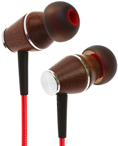 Symphonized XTC 2.0 Earbuds with Mic, Premium Genuine Wood Stereo Earphones, Hand-Made in-Ear Noise-isolating Headphones with Tangle-Free Innovative Shield Technology Cable (Lava Red)