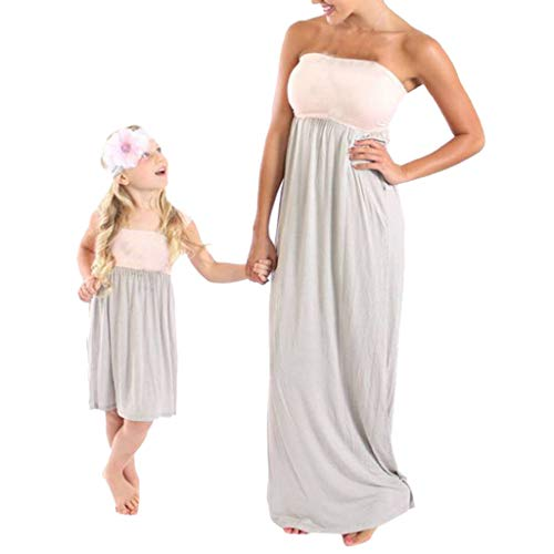 Willow S Mommy&Me Women Summer Sleeveless Open Back Blouse Color Matching Tube Top Splice Clothes Blouse Dress Pink