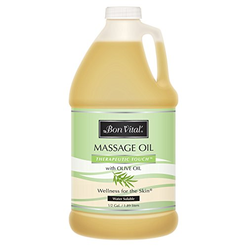 Bon Vital Therapeutic Touch Massage Oil Made with Olive Oil to Repair Dry Skin & Soothe Sore Muscles, Lightweight Oil Perfect for Any Massage to Hydrate and Nourish Dry, Rough Skin, 1/2 Gallon Bottle