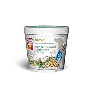The Honest Kitchen Brave Grain Free Dog Food - Dehydrated Minimalist Limited Ingredient Dog Food, Fish & Coconut, Single Serve Cup, 3.25 oz  (Tray of 8)