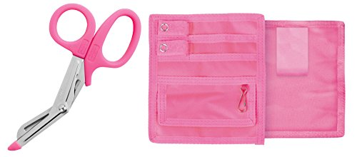 Prestige Medical Nurse Utility Scissors Trauma Shears, Hot Pink and Nursing Pocket Organizer Bundle