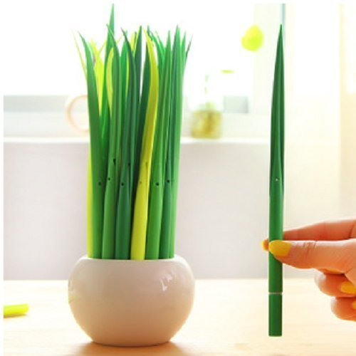 UDTEE 24Pc Green Pretty Cute Long Grass/Leaf Shape Rollerball Pens Deal (Large Image)
