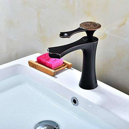 ホットとコールド調整浴室洗面器の蛇口オイルブラシ銅刻まれた花の形のバスルームのシンクの蛇口レバー洗面台の蛇口