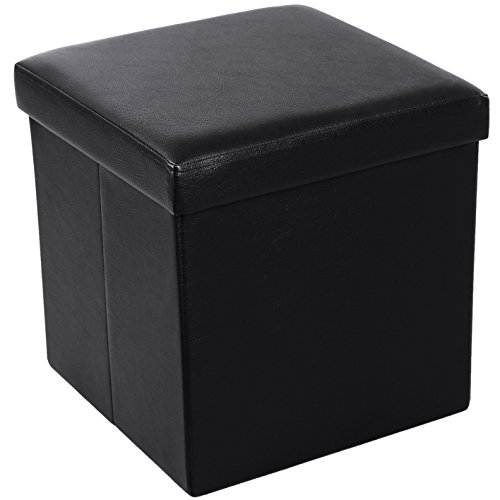 "SONGMICS 15"" x 15"" x 15"" Storage Ottoman Cube / Footrest Stool / Coffee Table / Puppy Step, Holds Up to 660lbs , Faux Leather ,Black ULSF101"
