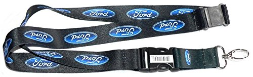 Ford Blue Oval Logo Lanyard w/ Key Chain Clip - Black