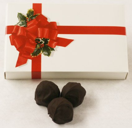 Scott's Cakes Dark Chocolate Covered Plain Marzipan Truffles in a 8 oz. Ribbon-n-Holly - Marzipan Cake Chocolate