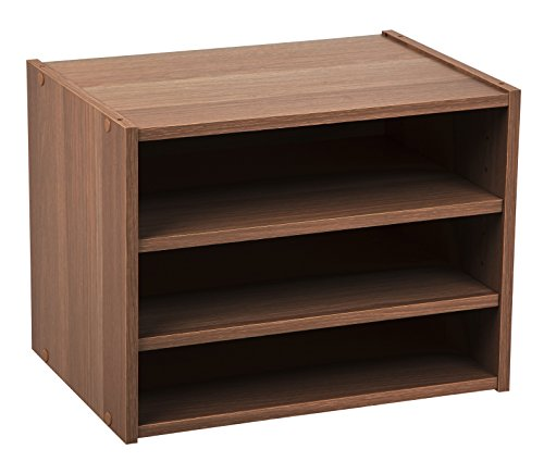 IRIS USA, SBS-DB, Modular Wood Storage Organizer Cube Box with Adjustable Shelves, Dark Brown, 1 Pack