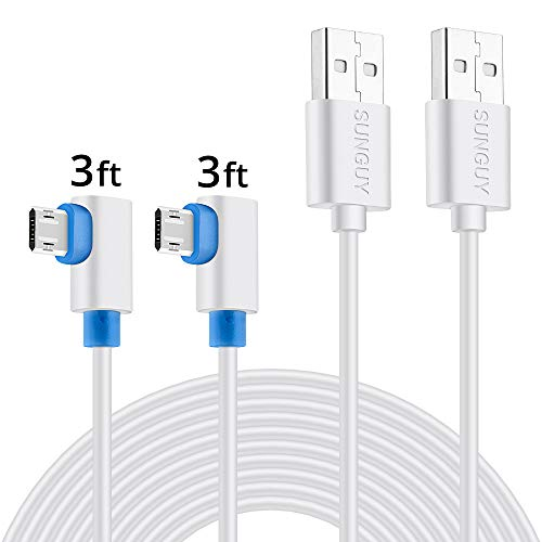Right Angle Micro USB Cable, SUNGUY [2 Pack] 3FT/1M 90 Degree Fast Charging Sync Data Cord for Samsung Galaxy S7/S6 Edge tab 3 2, Motorola Moto G5/G5S Plus,Huawei P10/P9 Lite More - White