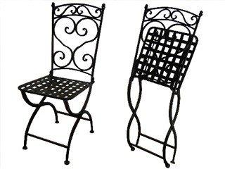 Chaise pliante de jardin en fer forgé coloris noir DCB ...
