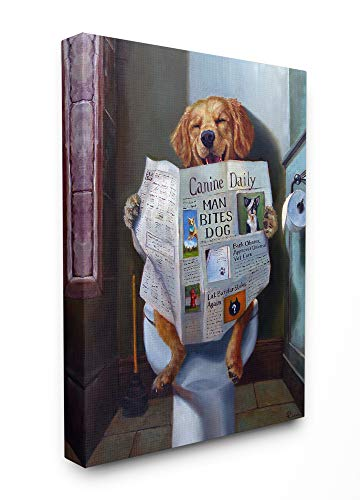 (The Stupell Home Décor Collection Dog Reading The Newspaper On Toilet Funny Painting Stretched Canvas Wall Art, 30 x 40, Multi-Color)