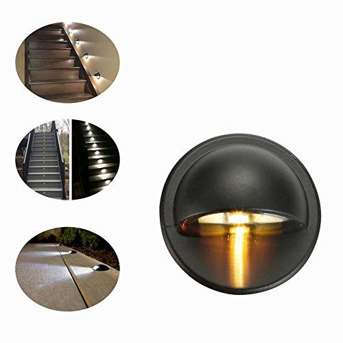 FVTLED Pack of 20 Warm White Low Voltage LED Deck lights kit Φ1.38'' Outdoor Garden Yard Decoration Lamp Recessed Landscape Pathway Step Stair Warm White LED Lighting, Black by FVTLED (Image #8)