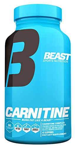 Beast Sports Nutrition, Carnitine Caps. Lose Weight by Burning Fat for Energy with L-Carnitine. Pharmaceutical Grade L-Carnitine Also Enhances Recovery Builds Lean muscle. 45 Servings, 90 Veggie Caps