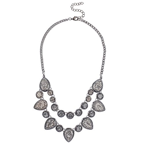 [Lux Accessories Silver Caviar Glitter Statement Necklace] (Costume Caviar)