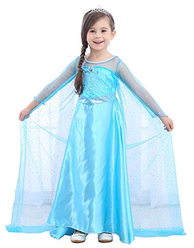 Girl's Princess Snow Queen Long Dress Up Costume