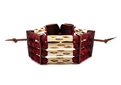 - Local Bead Shop Handmade Traditional 4 Row Carved Buffalo Bone Hairpipe Beads Tribal Bracelet