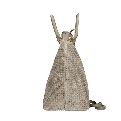 Borse cuir tressé Sac bandoulière en in Made Cm en 53x34x20 Chicca véritable Italy avec main cuir imprimé à Gris rZzZFqH