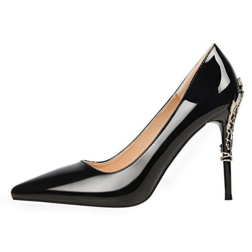 AmoonyFashion Womens High-Heels Pull-On Patent Leather Closed-Toe Pumps-Shoes Black SzyFkZT7