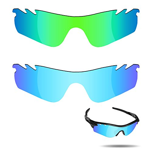 Fiskr Anti-saltwater Polarized Replacement Lenses for Oakley RadarLock Path Vented Sunglasses 2 Pairs Packed (Ice Blue & Emerald - Prizm Radarlock