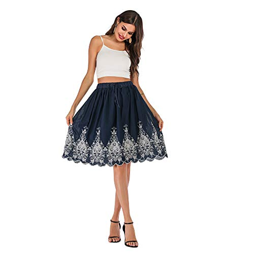 Love Welove Fashion Women's A-line Flared Embroidered Knee Length with Lining midi Skirt (XXL, Navy with White - Skirt Embroidered Classic