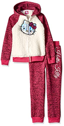 Hello Kitty Girls' Big 2 Piece Hooded Fleece Active Set, Fuchsia/Cream, 7
