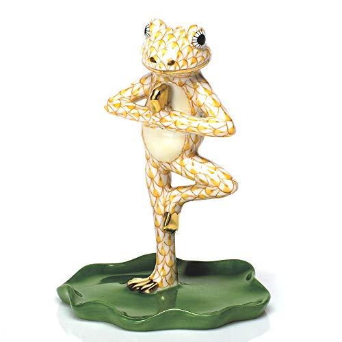 (Herend Yoga Frog Tree Pose Porcelain Figurine Butterscotch Fishnet)