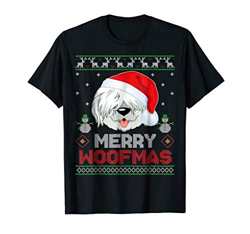 (Old English Sheepdog Santa Hat Christmas Ugly Style T-Shirt)
