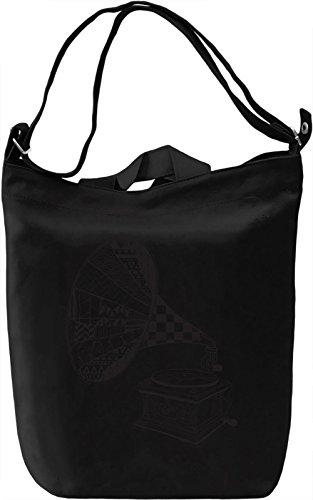 Gramophone Borsa Giornaliera Canvas Canvas Day Bag| 100% Premium Cotton Canvas| DTG Printing|