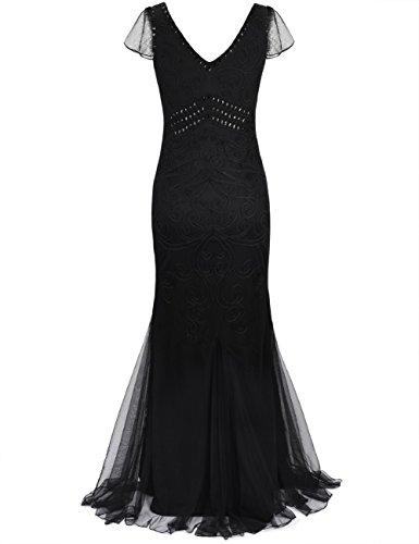 1920er Flapper Maxi Formelle Abendkleid Hülse Lange Damen Kayamiya Meerjungfrau mit Schwarz Gatsby 7qTwA