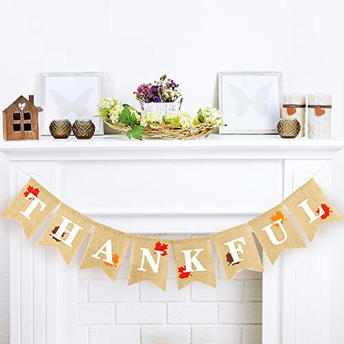 Whaline Thanksgiving Day Thankful Maple Leaves Burlap Banner Autumn Harvest Home Decor Bunting Flag Garland Party Decoration