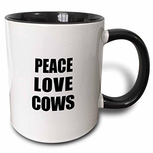 3dRose 184853_4 Peace Love and Cows - Things that make me happy - animal lover gift Ceramic Mug 11oz Black/White