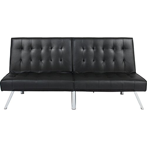 Black Convertible Leather Futon Sofa Bed Couch Split Backrest Recliner Lounger Sleeper Home Living Room Bedroom Apartment Studio Modern Space Saving Furniture Décor Fold Up And Down - Dallas Stores Galleria