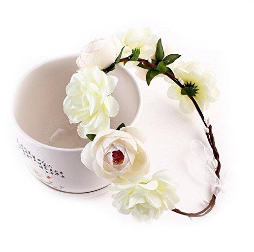 Tiara de flores para el pelo Aukmla, para vacaciones o boda, para mujer, estilo bohemio