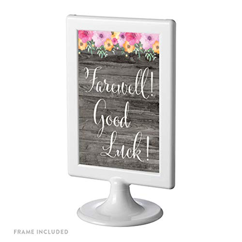 - Andaz Press Framed Retirement Party Signs, Rustic Gray Wood Pink Floral Flowers, 4x6-inch, Farewell! Good Luck!, 1-Pack, Includes Reusable Photo Frame