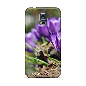 Durable Purple Flowers Back Case/cover For Galaxy S5