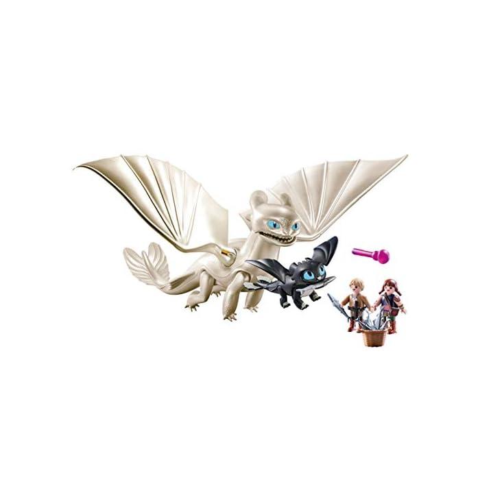 41Idb4UUFIL Diversión para pequeños aventureros: DreamWorks Dragons Furia Diurna y bebé Dragón con niños, Juego de PLAYMOBIL con figuras y otros accesorios para jugar Furia Diurna con función de tiro para flechas, Niños vikingos con mano de agarre para accesorios PLAYMOBIL, entre otros, adecuado para set de juego Hipo y Desdentao con bebé Dragón PLAYMOBIL (70037) Juego de figuras para niños a partir de 4 años: óptimo para el tamaño de sus manos y bordes redondeados agradables al tacto