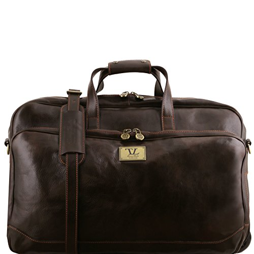 Tuscany Leather Samoa Trolley leather bag - Large size Dark Brown by Tuscany Leather