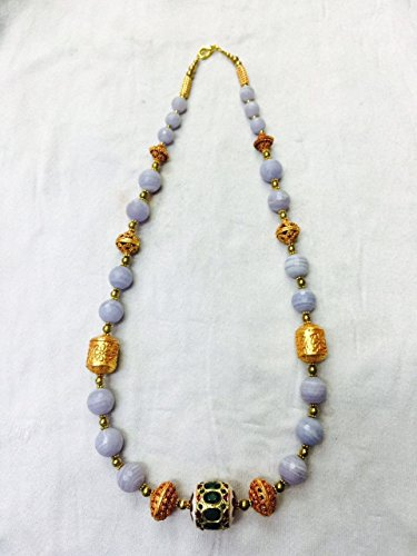 Afghan Gold Plated Beads with Agate Necklace Ethnic Regional Tribal Vintage Gypsy Hippie