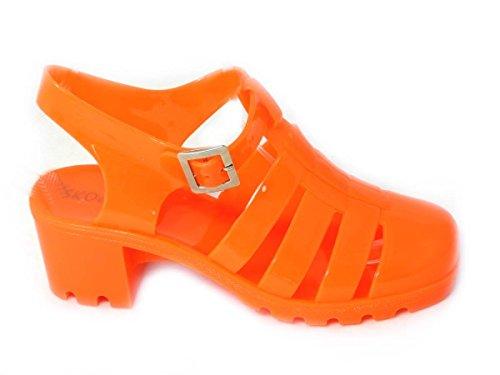 Rubber Out Mid Cut Heel Size Womens Orange Block 61 Jelly Retro Girls Kids Low Gladiator SKO'S Shoes Sandals gw01S4q