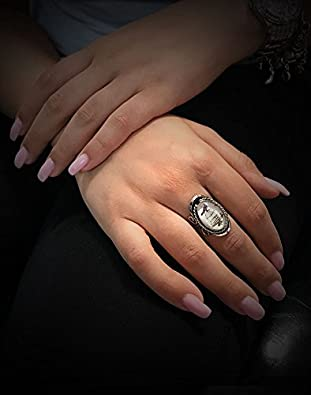 Mia Jewel Shop Vintage Bird Graphic Oval Shaped Silver Rope Edge Adjustable Ring