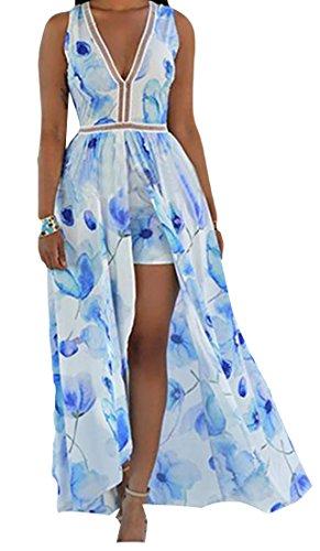 Sleeveless Chiffon Cruiize Dress Printed Blue Womens Maxi Backless Beach Split F41Efx5n1