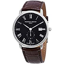 Frederique Constant Slimline Black Dial Leather Strap Men's Watch FC-245BR5S6DBR
