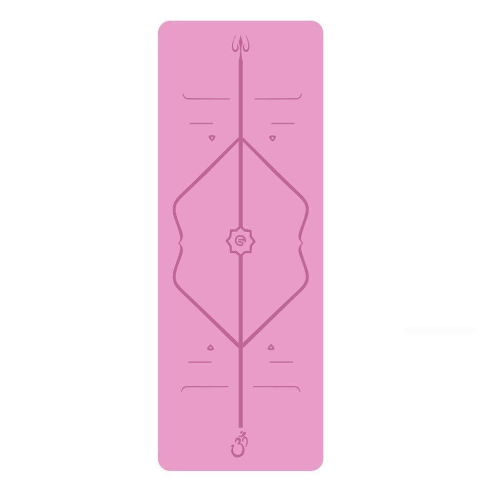 ヨガマットフィットネススポーツ天然ゴムヨガマットノンスリップ体操用マットフレンドリーノンスリップフィットネスマットエクササイズマットワークアウトマットピラティスとヨガとボディアライメントシステム (色 : グレー) B07QYLP5P1 ピンク ピンク