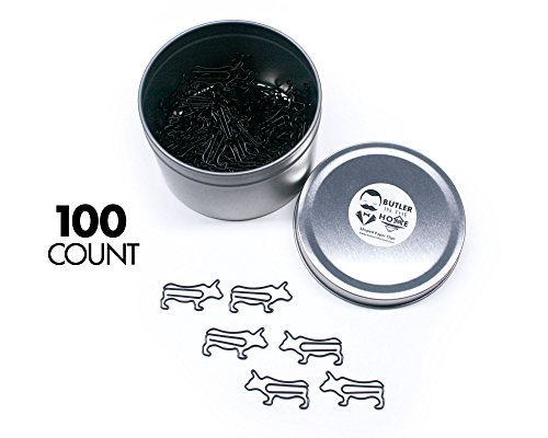 - Butler in the Home Cow Bull Shaped Paper Clips Great For Paper Clip Collectors or Office Gift - Comes in Round Tin with Lid and Gift Box (Black 100 Count)
