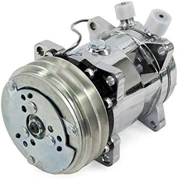 Chrome A-Team Performance Sanden 508 Style Silver Clutch V-Belt Universal Air Condition AC Compressor