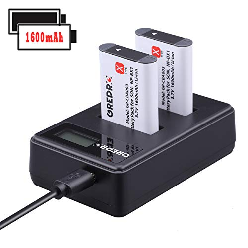 NP-BX1 Battery(2 Pack) and Dual Slot Charger Set Grepro Replacement Li-ion Rechargable Battery for Sony NP-BX1/M8 and Cyber-Shot DSC-RX100, DSC-RX100 II/III/V/IV, DSC-RX100M II, HDR-CX405 and More. ()